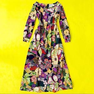Vintage  🌈 1960's Psychedelic Floral Maxi Dress